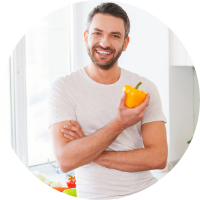 healthy man in a kitchen to show metabolic age reversal